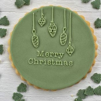 Merry Christmas mit Kugeln - PoP UP Fondantstempel -