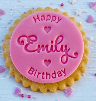 Happy Birthday mit Name -  ink. 50 Tüten - Fondantstempel -