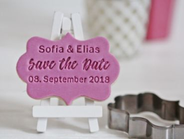 """Save the Date"" - Fondant-/Keksstempel - inkl. Ausstecher"