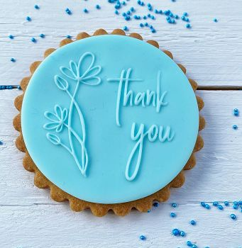 Thank you mit Blume  - PoP UP Fondantstempel -